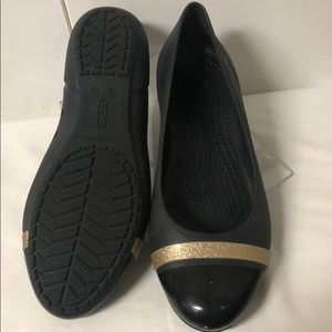 Mary Jane Crocs Size 9 with gold rim on toe